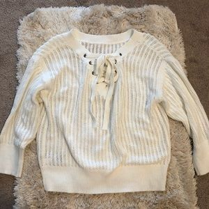 Open knit cream sweater with tie detailing size XS